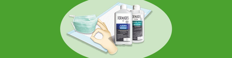 Pflegeprodukte wie Mundschutz, Handschuhe und Desinfektionsmittel kostenlos bei rahm beantragen